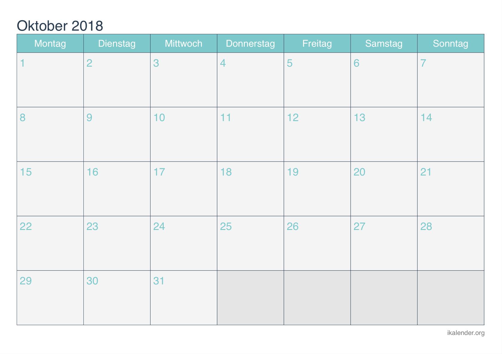 Kalender Oktober 2018 Libur