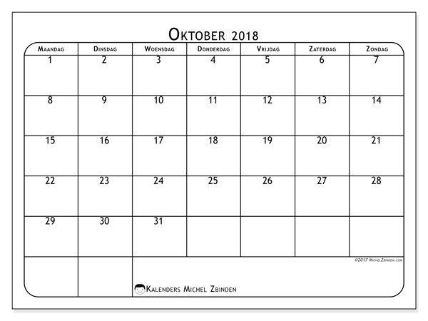 Kalender Oktober 2018 PDF