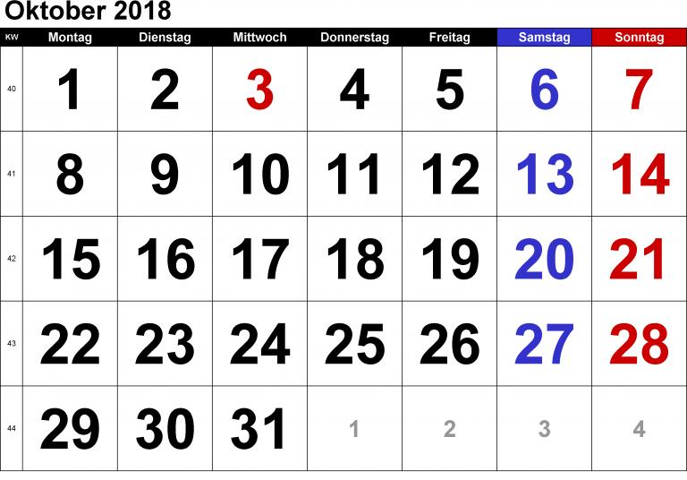 Kalender Oktober 2018 Zum Ausdrucken Download