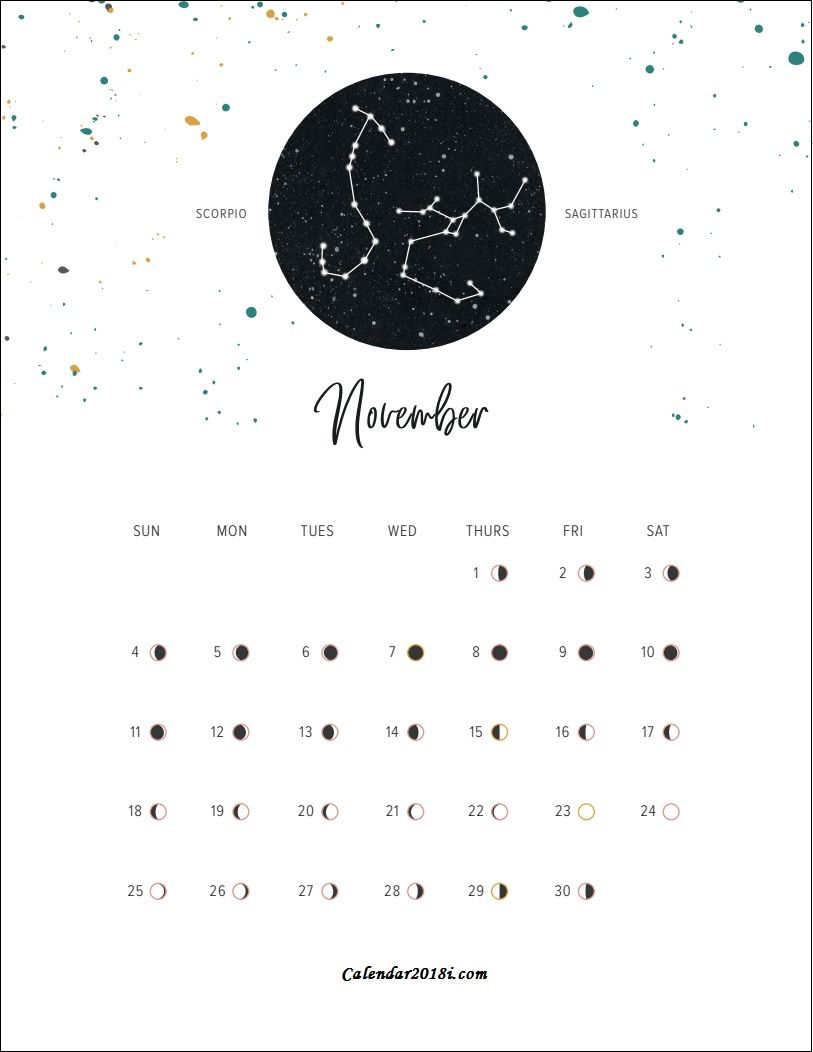 Moon Phases November 2018 Calendar