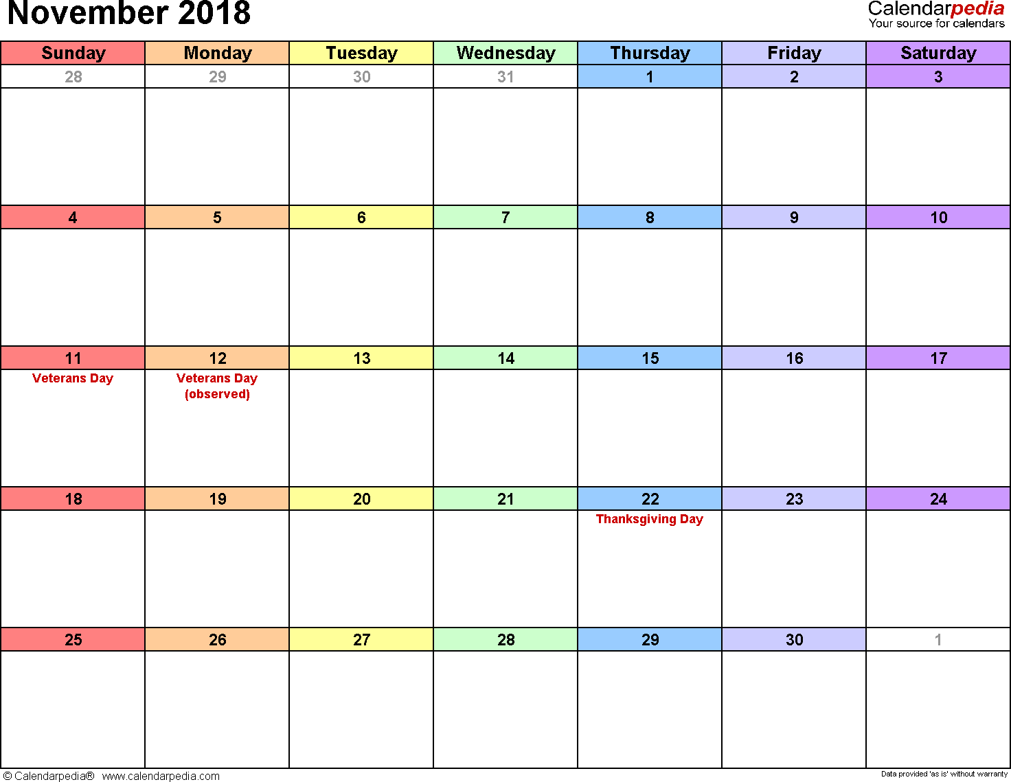 November 2018 Calendar Excel Document