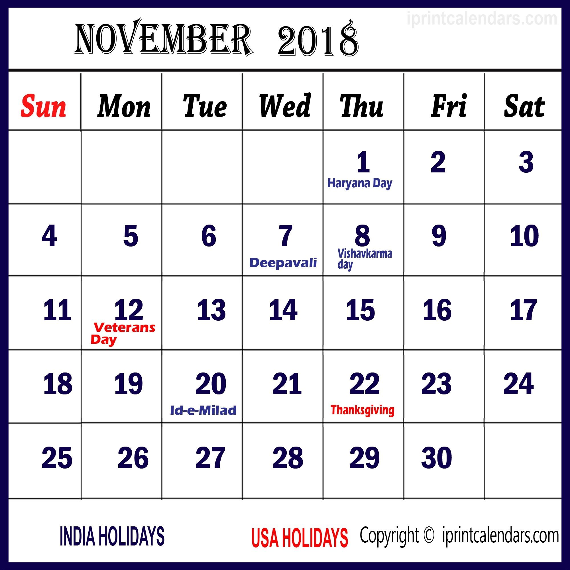 November 2018 Calendars India