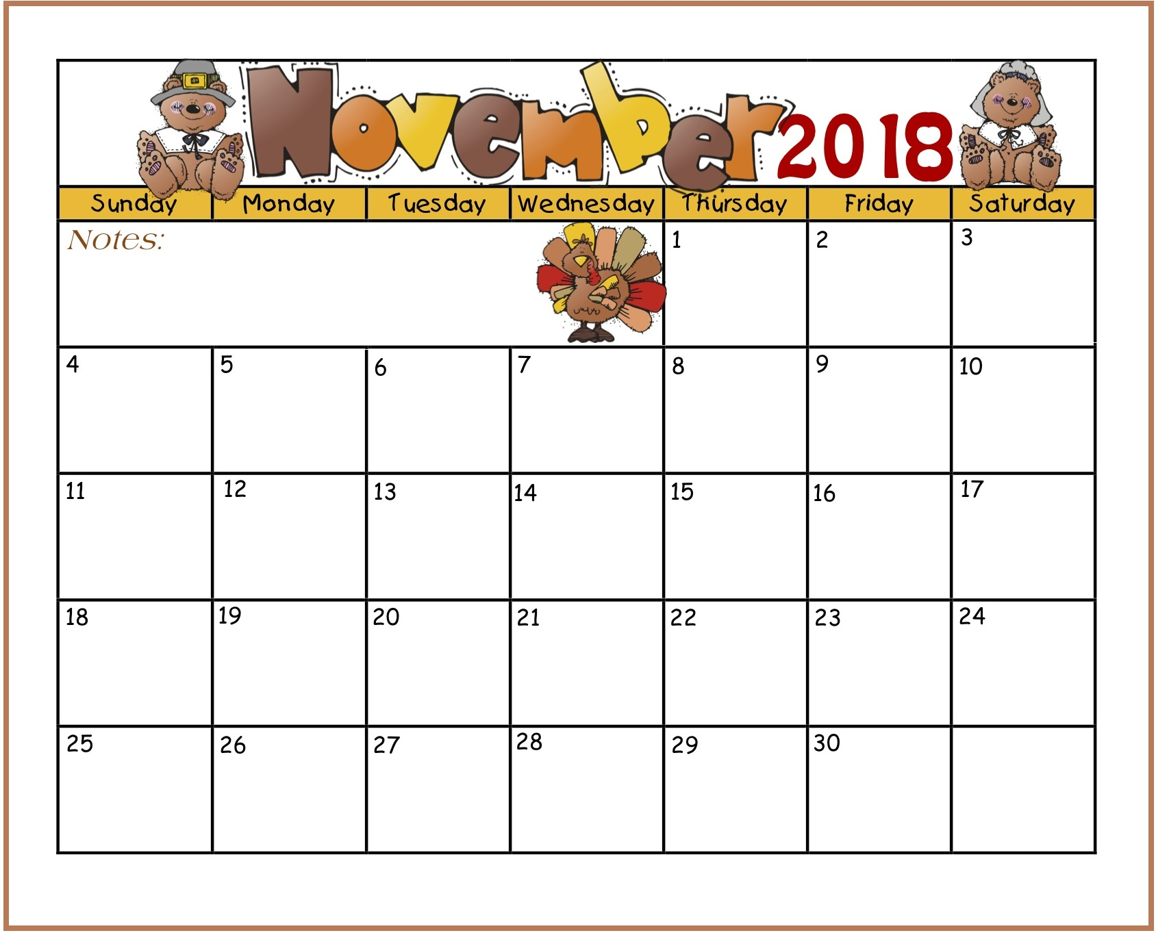 November 2018 Calendar Landscape for Kids
