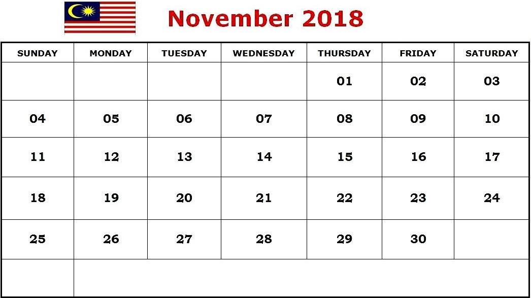 November 2018 Calendar Malaysia Holidays