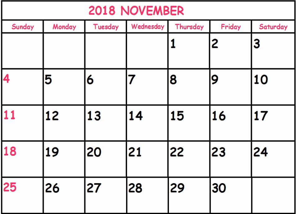 November 2018 Calendar Malaysia Printable