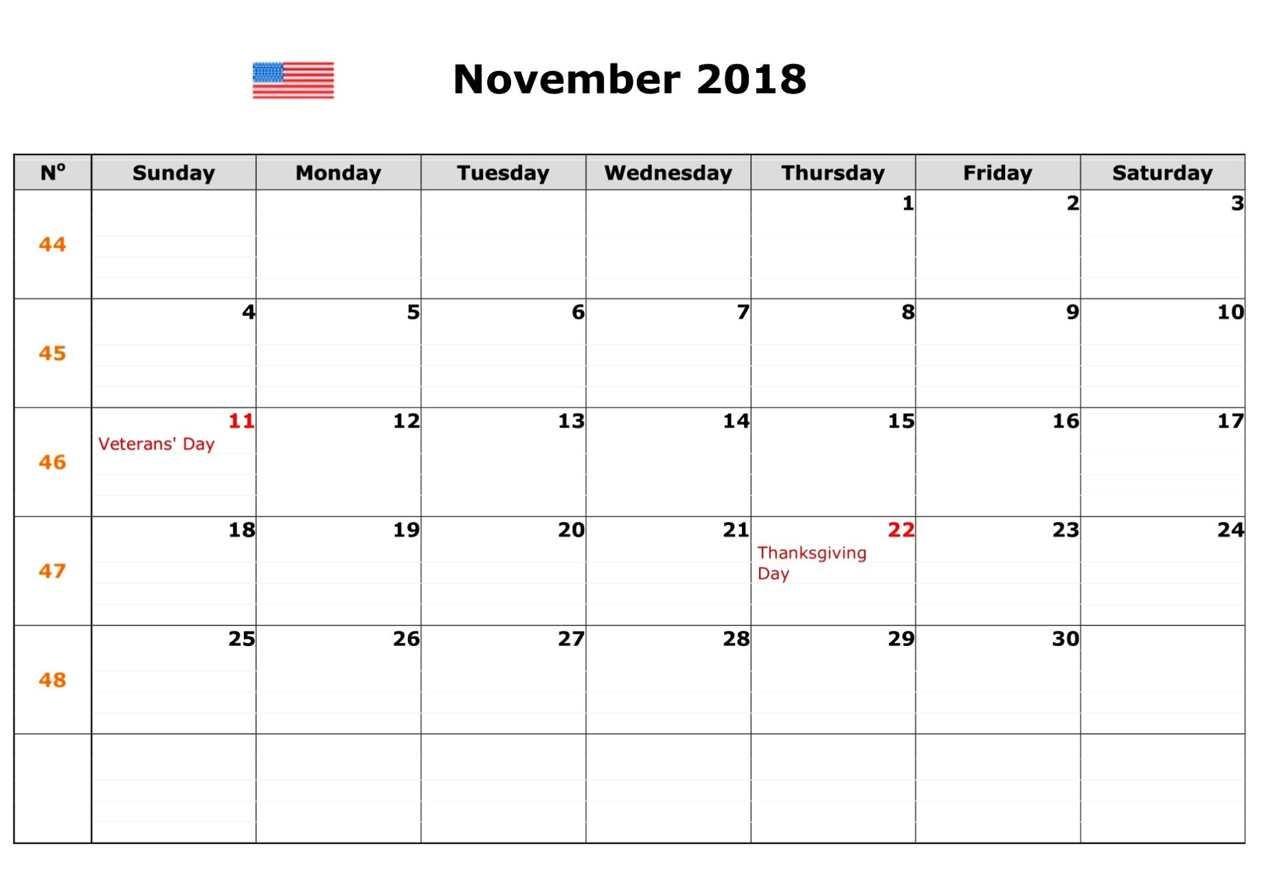 November 2018 Calendar Malaysia With Holidays