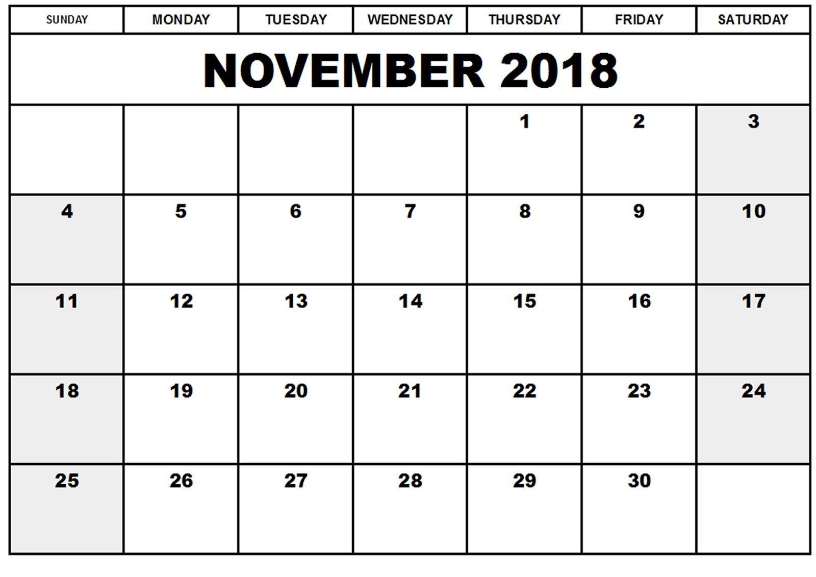 November 2018 Calendar Malaysia