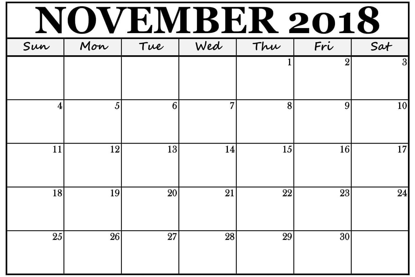 November 2018 Calendar New Zealand Printable