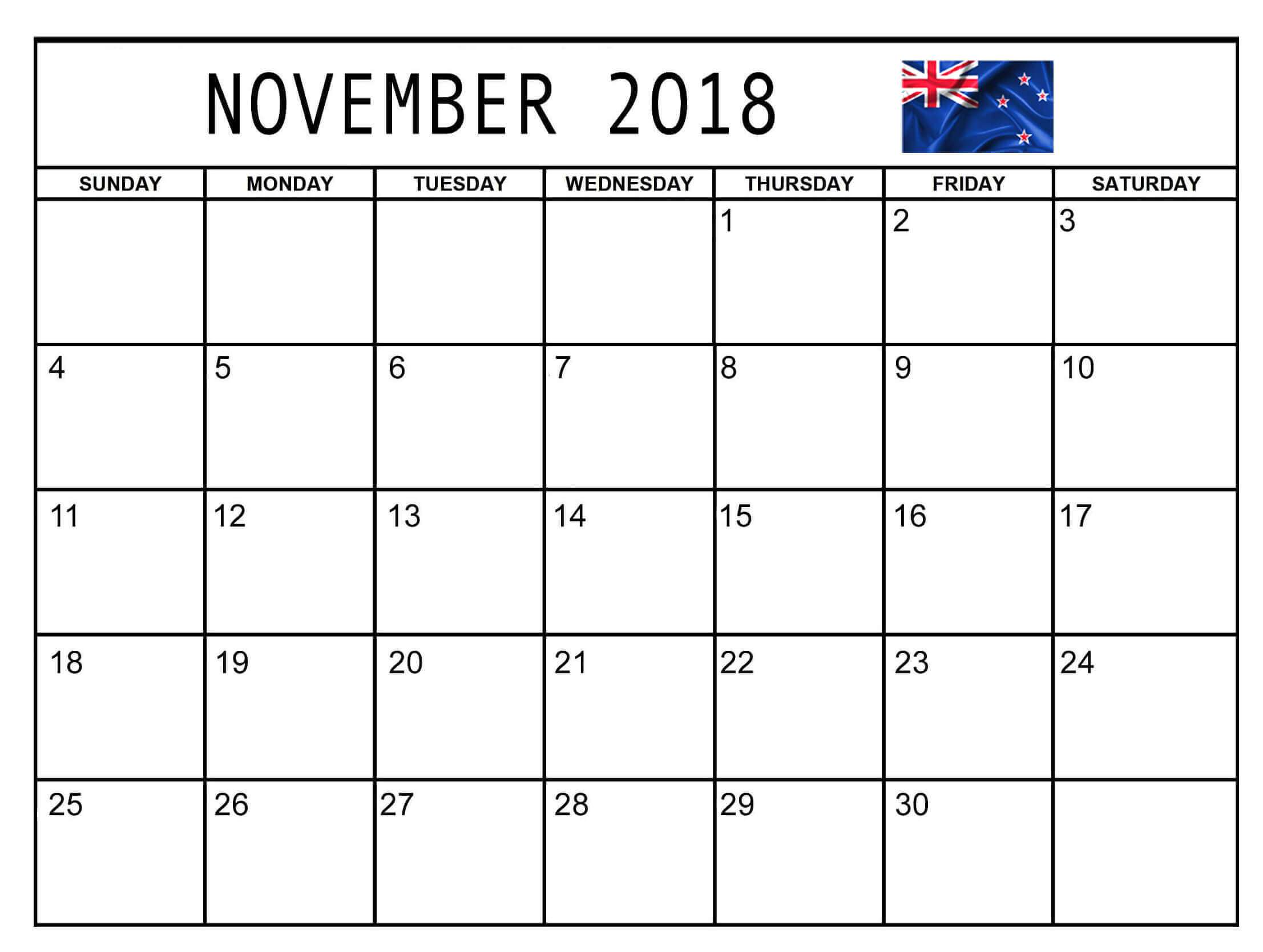 November 2018 Calendar Nz Public Holidays