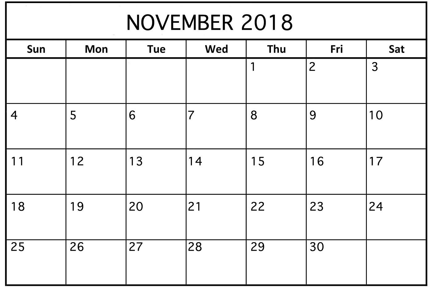 November 2018 Calendar New Zealand Template