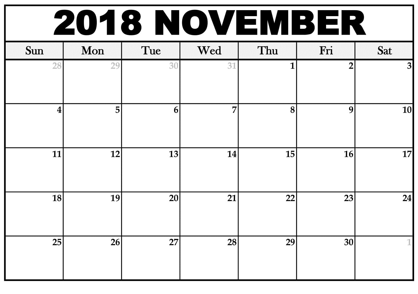 November 2018 Calendar PDF Document