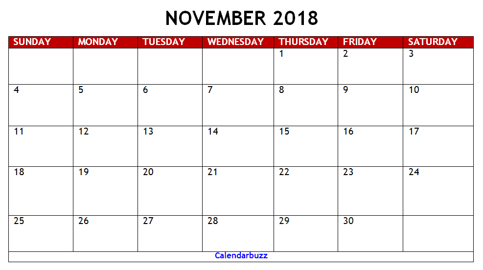November 2018 Calendar Philippines Template