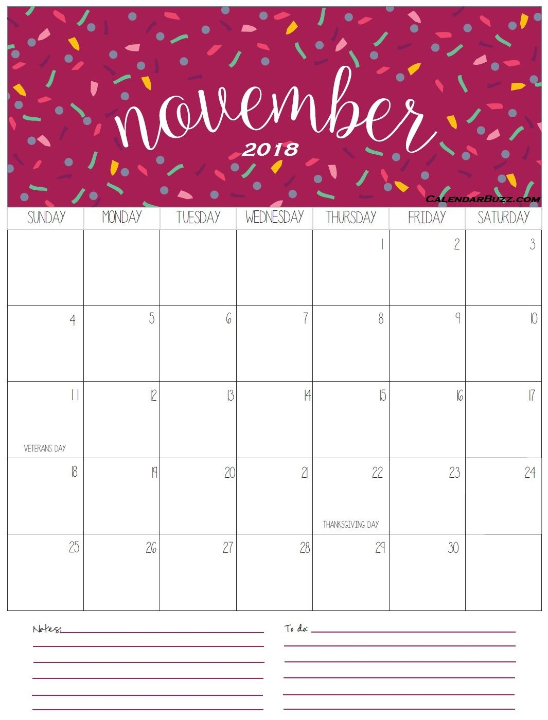November 2018 Calendar Portrait With Notes