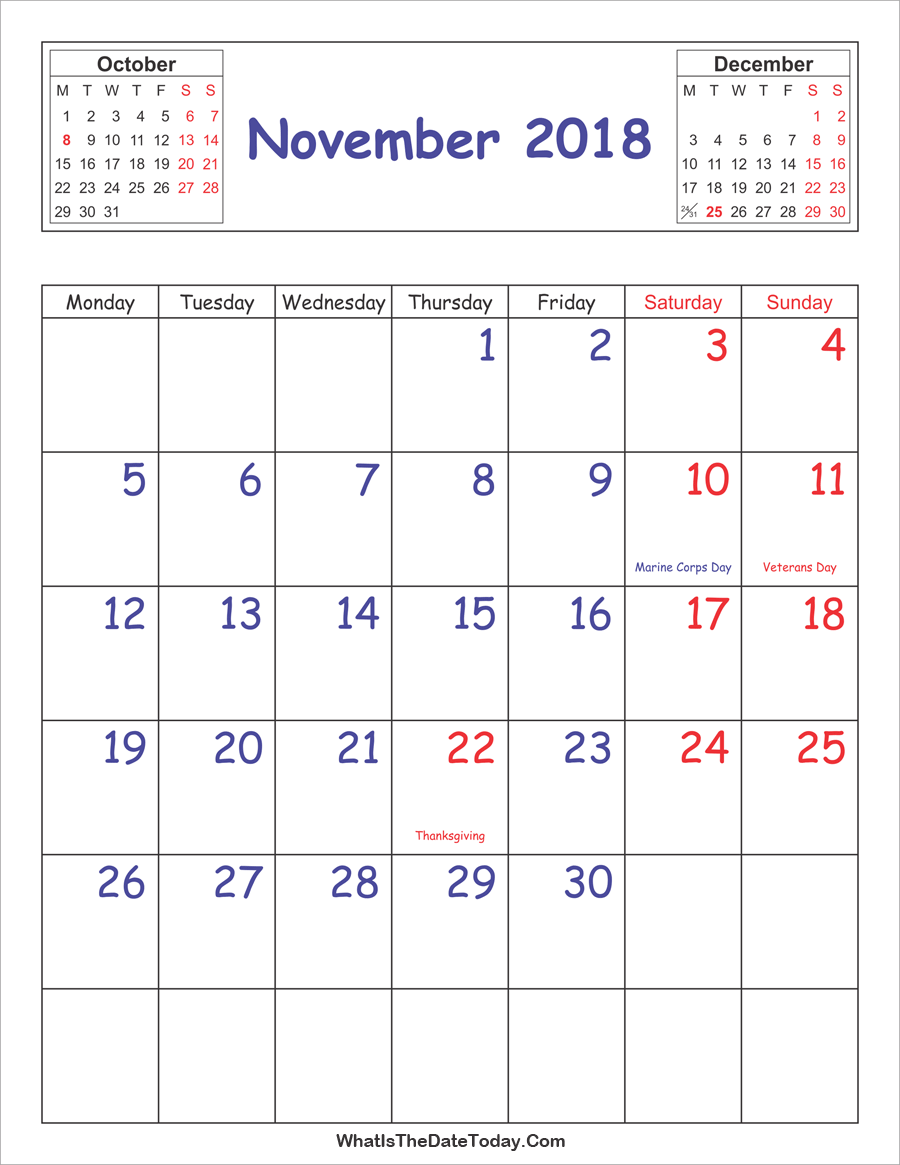 November 2018 Calendar Vertical