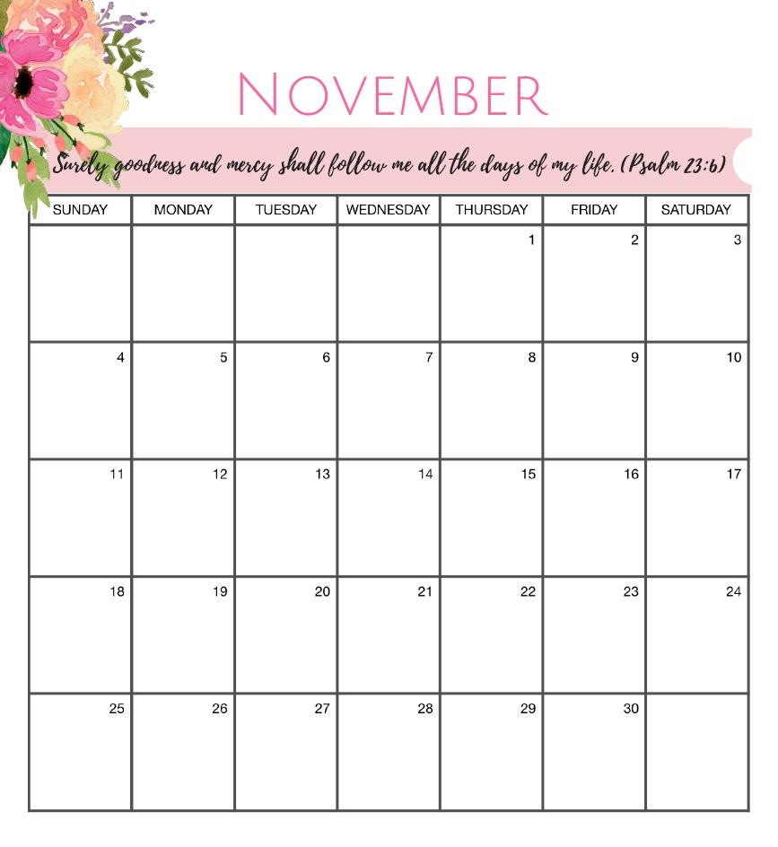November 2018 Floral Calendar Portrait