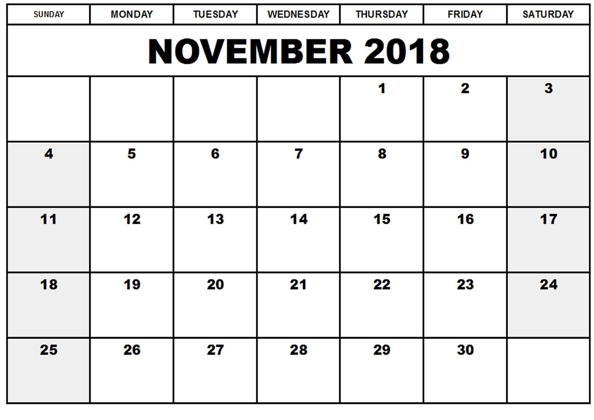 November 2018 Kalender Zum Ausdrucken