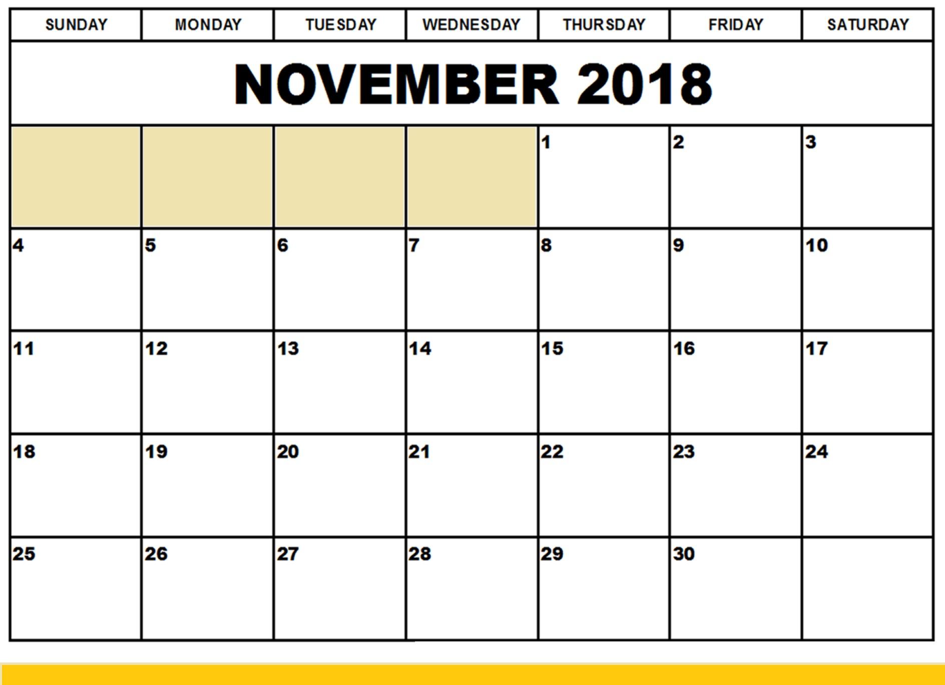 November 2018 Landscape Calendar
