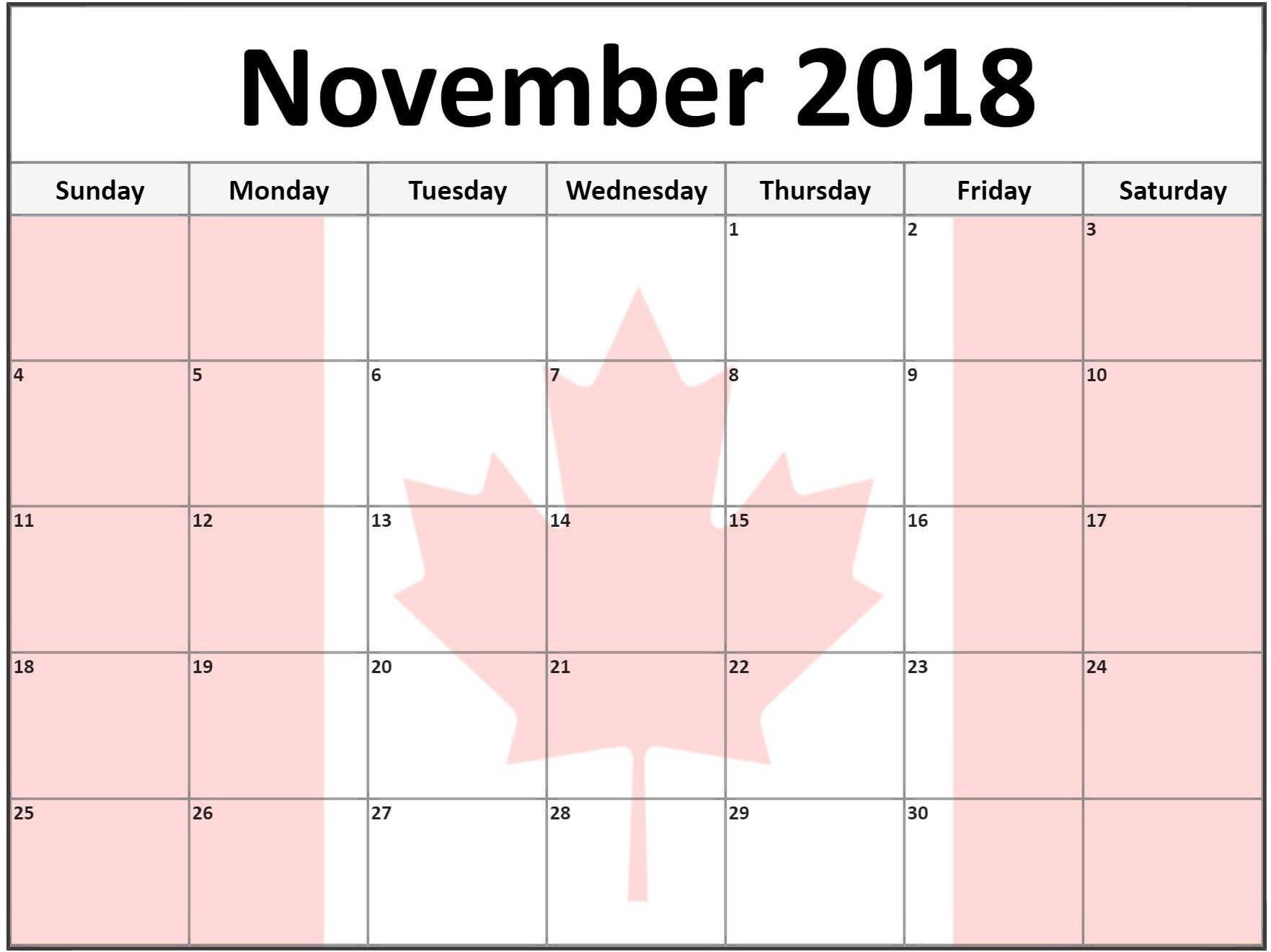 November 2018 Pink Calendar