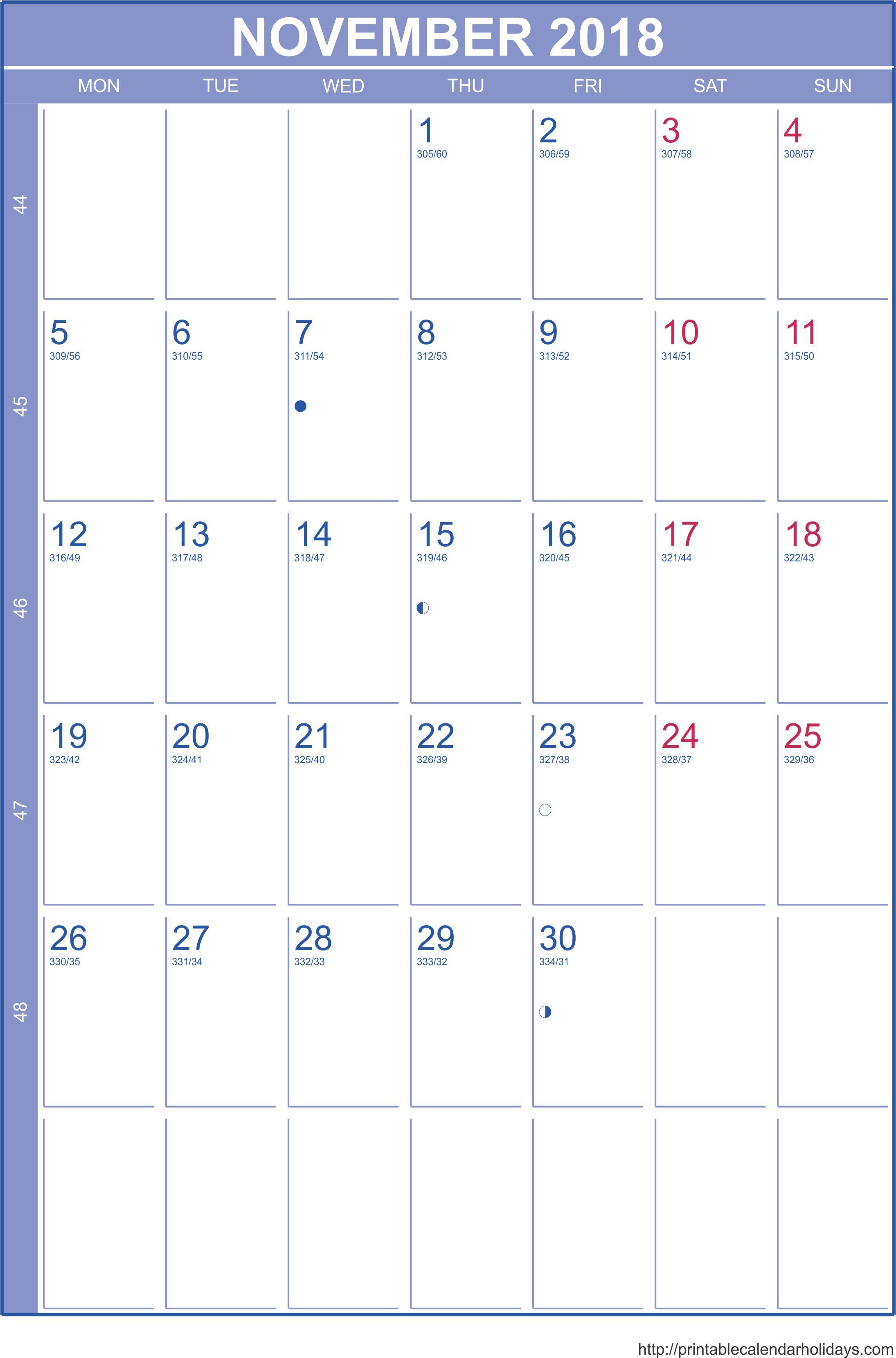 November 2018 Portrait Calendar Moon Phases
