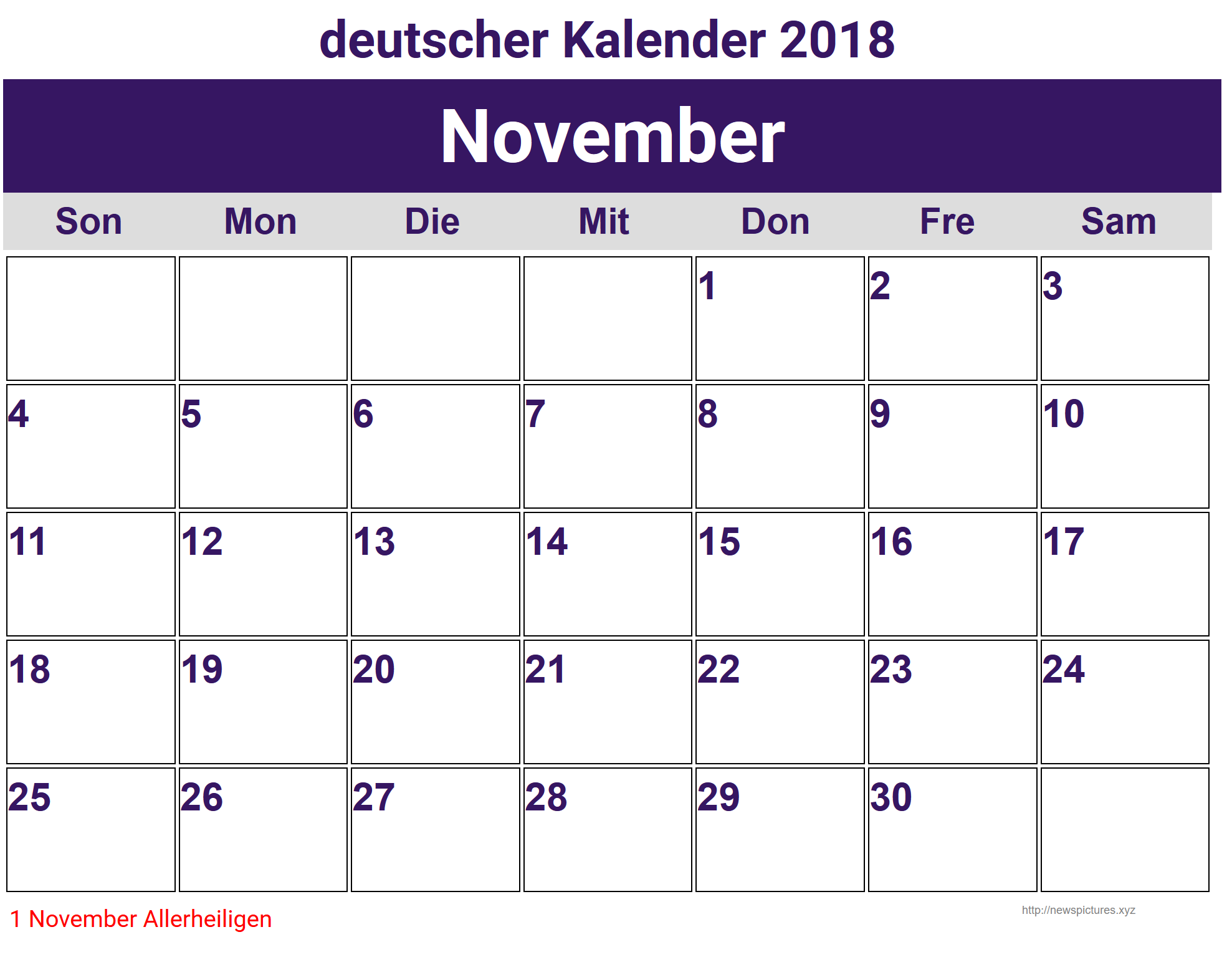 November Deutscher Kalender 2018