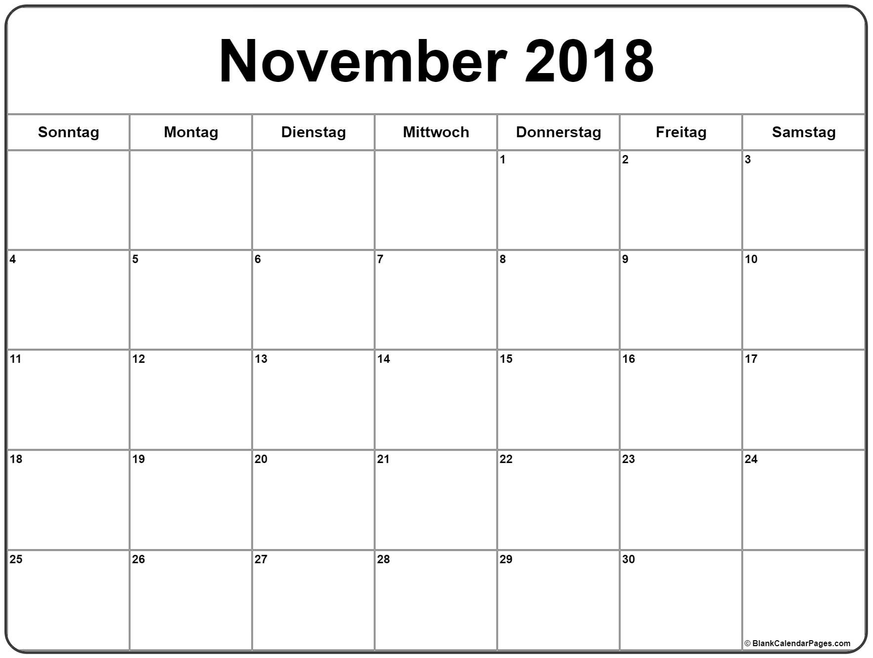 November kalendar 2018