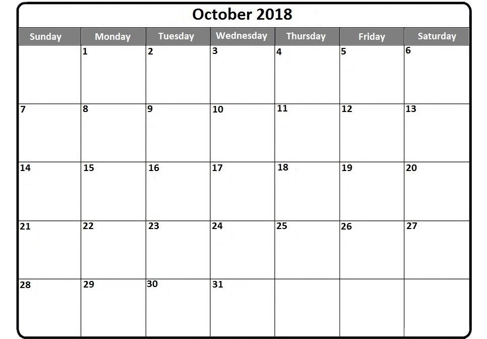 October 2018 Calendar NZ