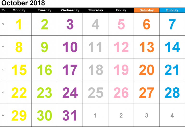 October 2018 Calendar New Zealand National Holidays