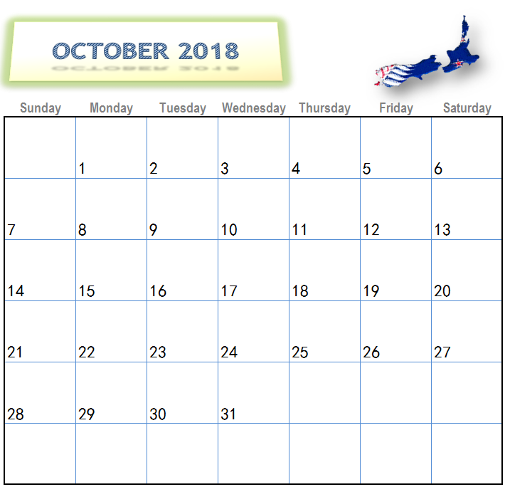 October 2018 Calendar New Zealand Public Holidays