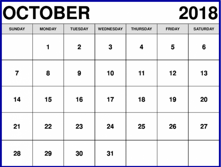 October 2018 Calendar New Zealand Template
