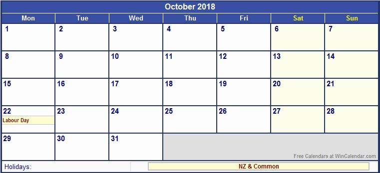 October 2018 Calendar New Zealand
