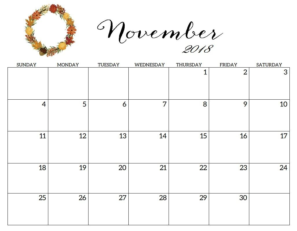 Online November 2018 Calendar Document