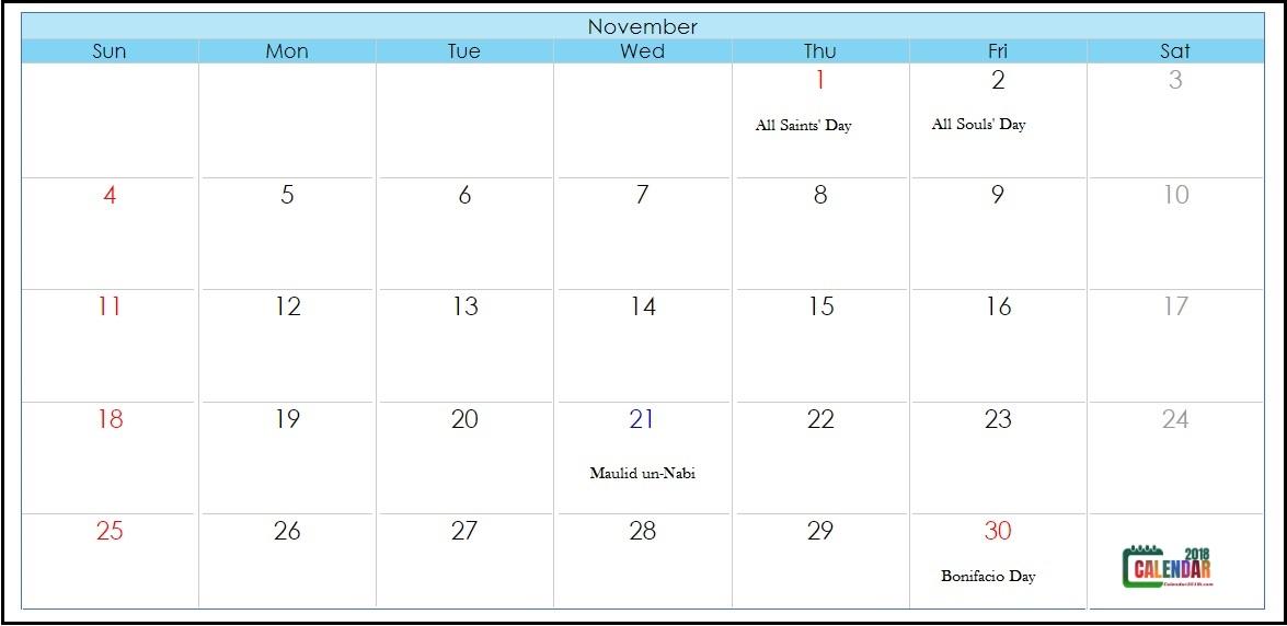 Philippines November 2018 Holidays Calendar
