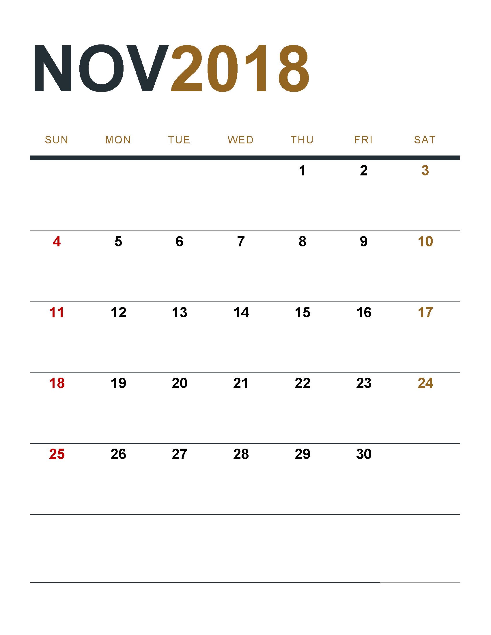 Print November 2018 Calendar Vertical