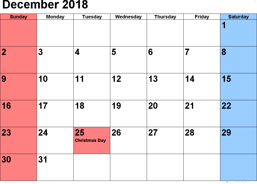Printable Calendar December 2018 With USA Holidays