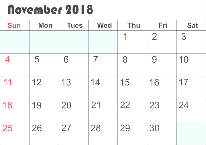 Printable November 2018 Calendar Landscape