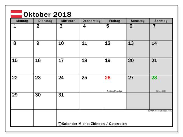 kalender 2018 oktober österreich