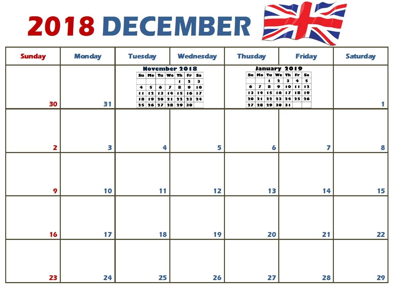 2018 December Calendar Canada