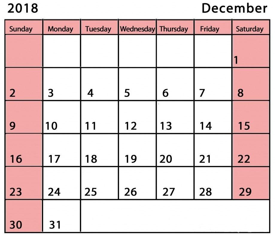 2018 December Calendar Pink