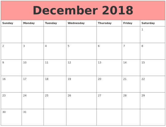 2018 December Calendar Tumblr