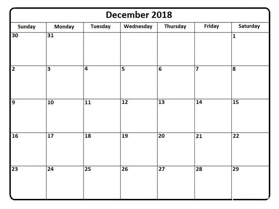 Blank December 2018 Calendar Printable Template