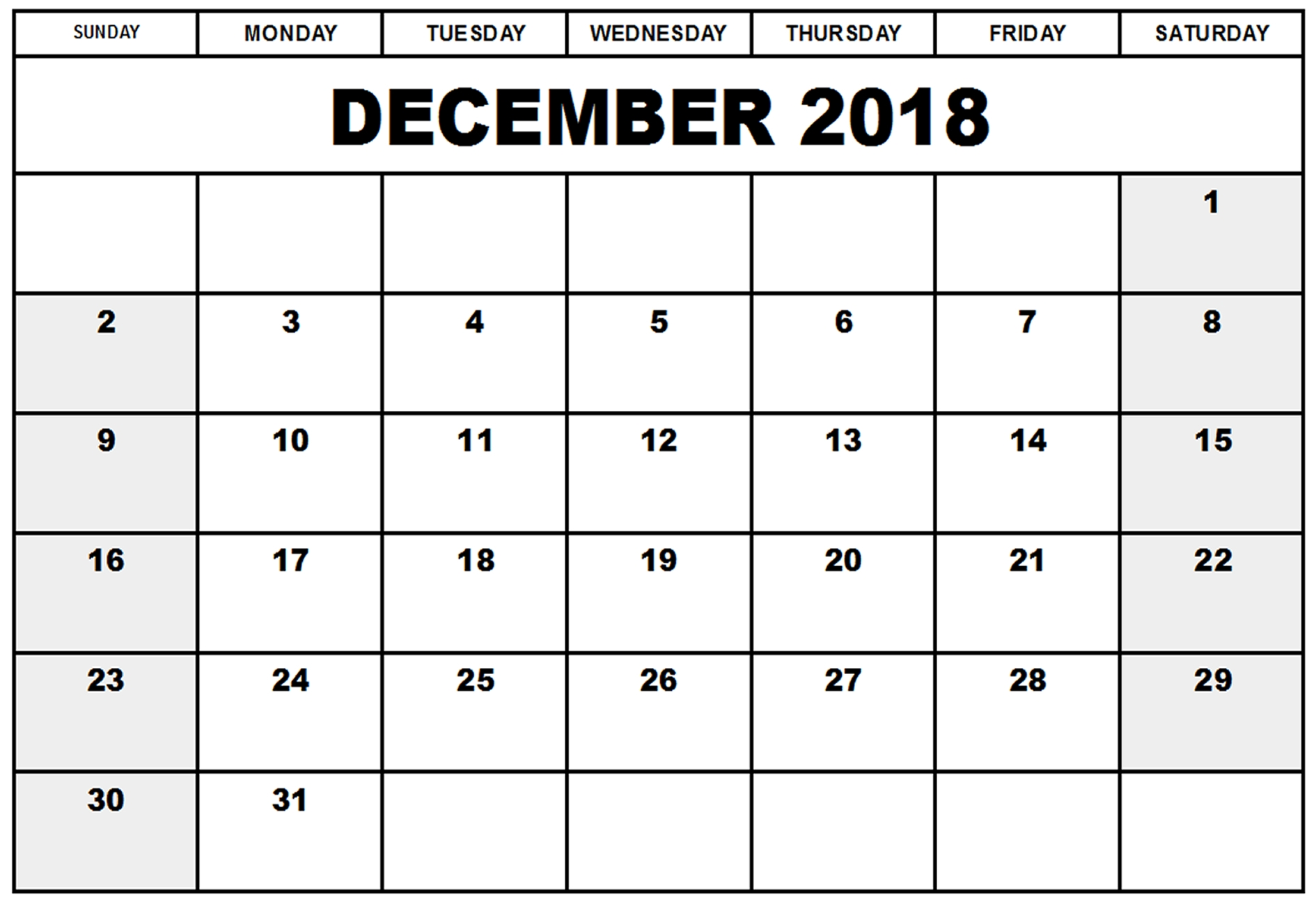 Calendar December 2018 Printable Template