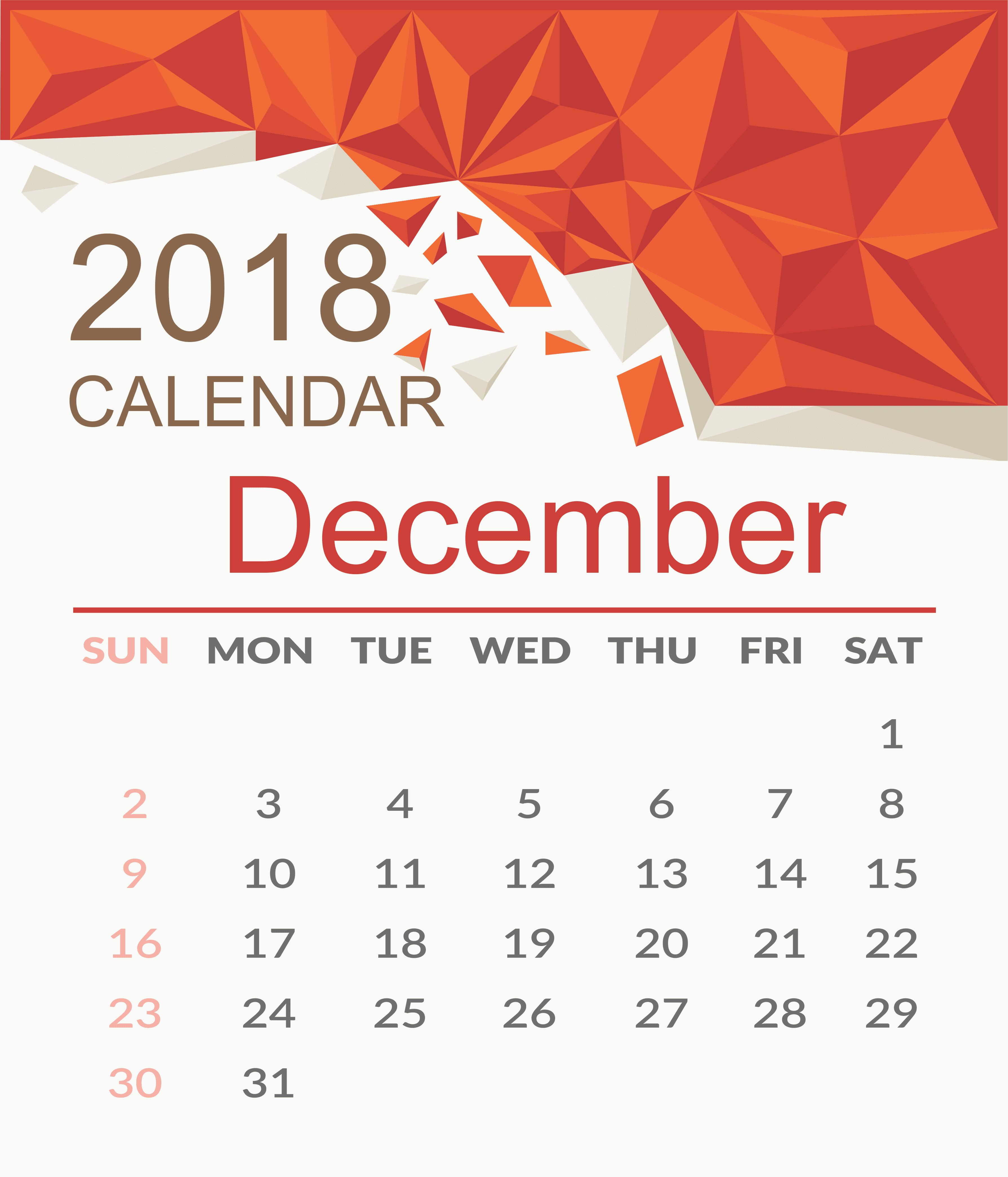 Calendar December 2018 UK