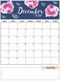 Cute December 2018 Calendar Pink