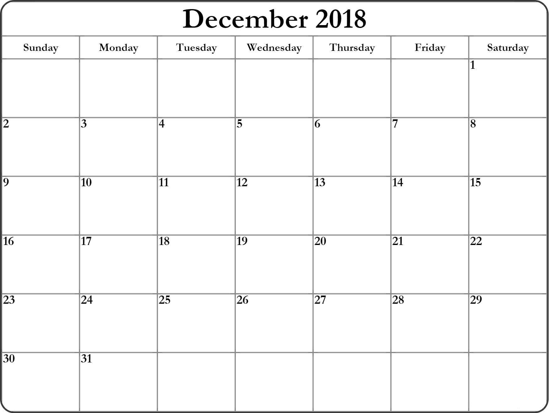 December 2018 Blank Landscape Calendar