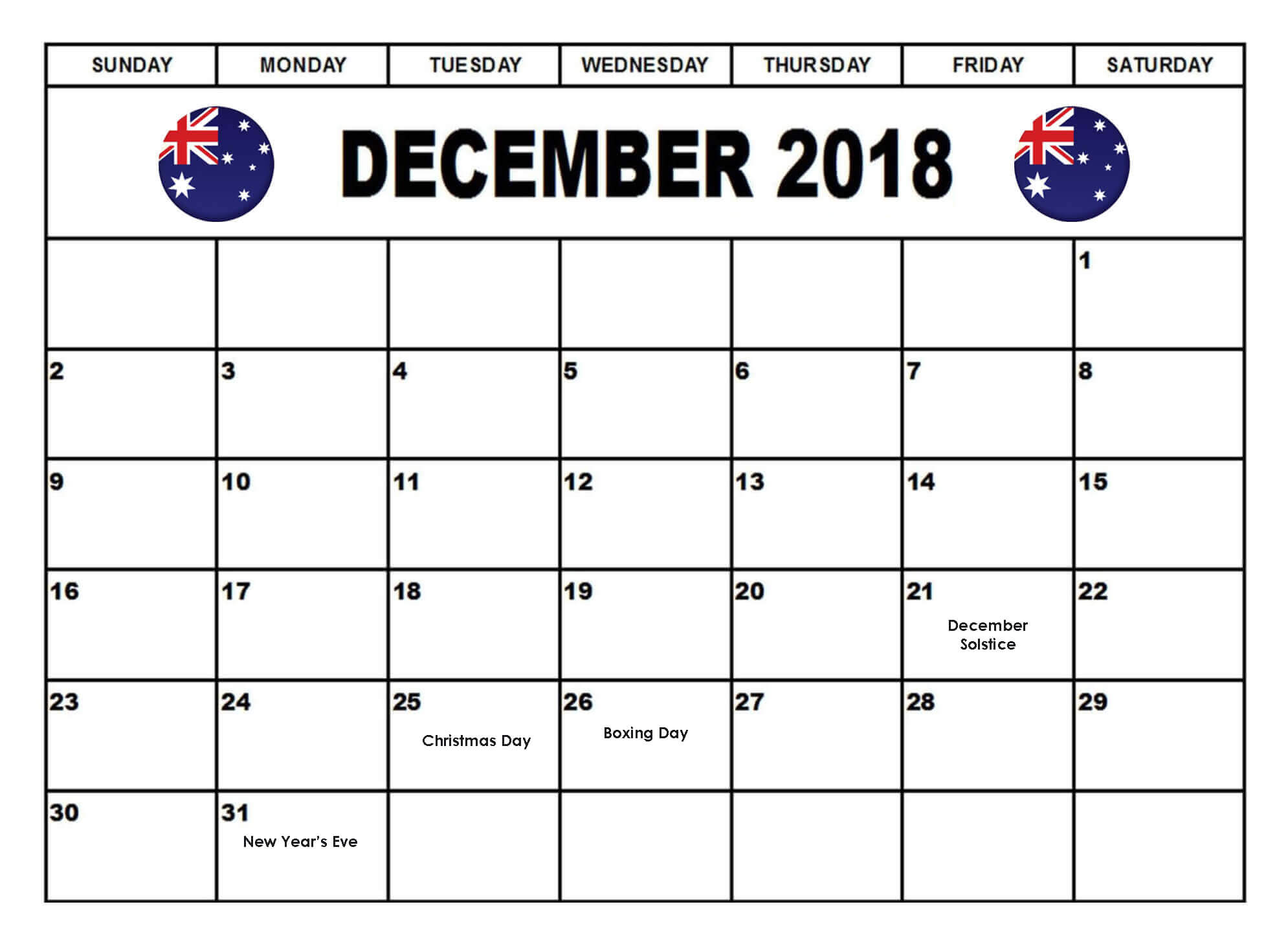 December 2018 Calendar Australia National Holidays