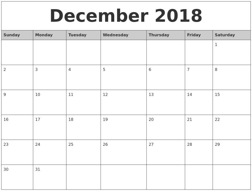 December 2018 Calendar Printable Australia