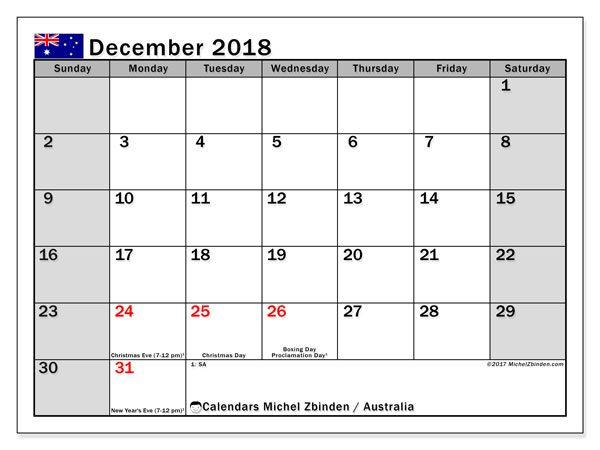 December 2018 Calendar Australia