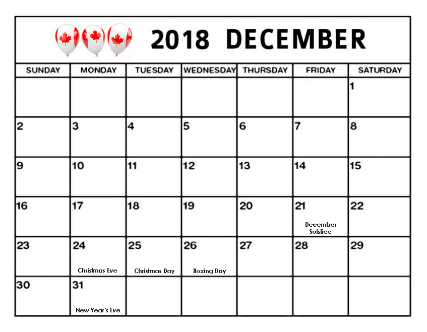 December 2018 Calendar Canada Bank Holidays