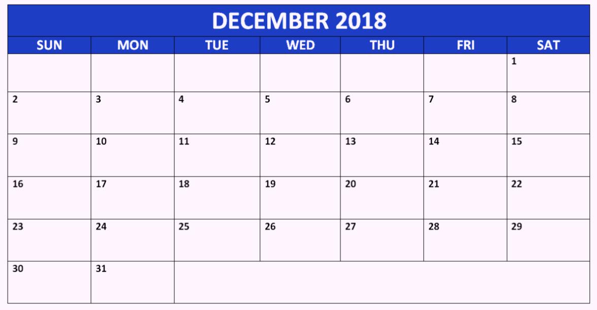 December 2018 Calendar Canada Printable