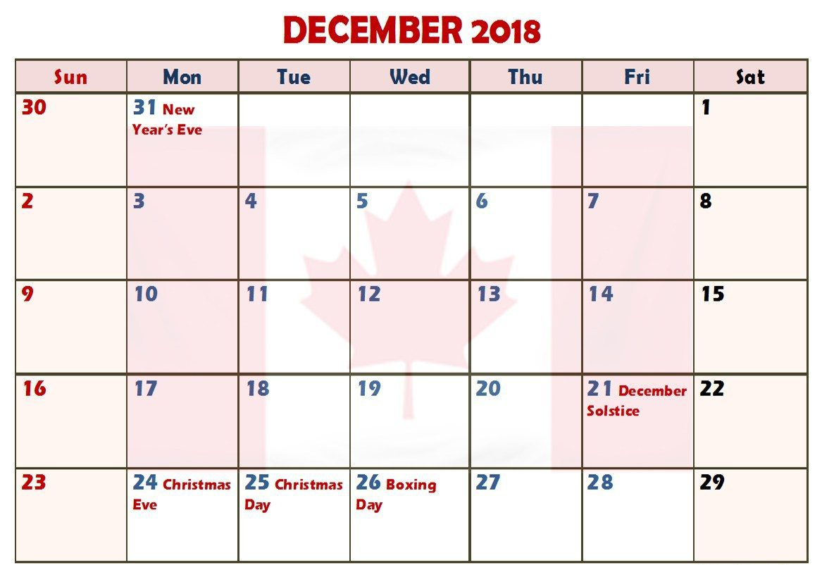December 2018 Calendar Canada With Holidays